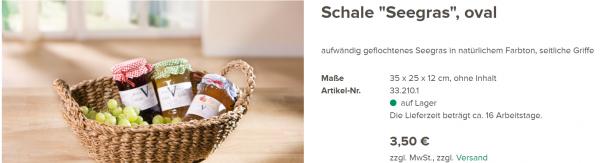 Schale Seegras Oval